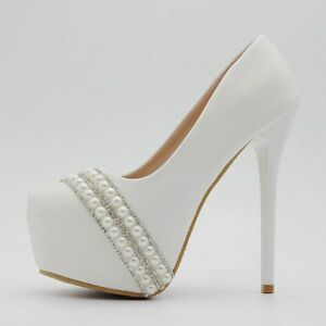 f9464ba064 Women's Stilettos Pearl White Round Toe Wedding High Heels Shoes ...