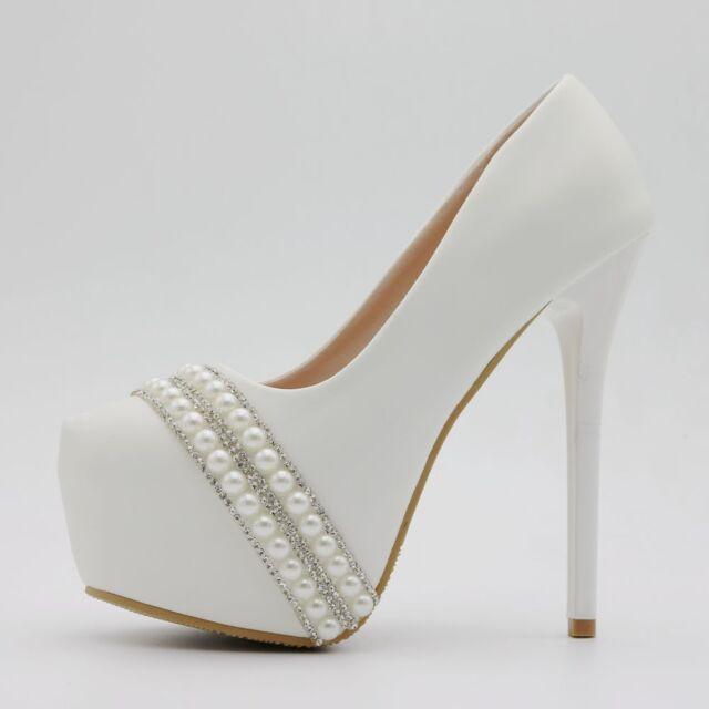 b45f887a4 Women's Stilettos Pearl White Round Toe Wedding High Heels Shoes Pumps  Platform
