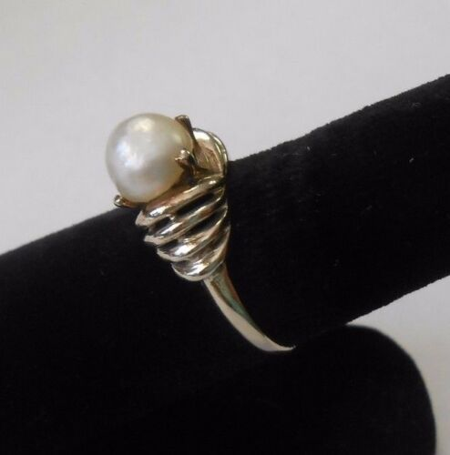 Details about  /Beautiful 14k Solid White Gold Large Natural Pearl Solitaire Ring Size 8.5