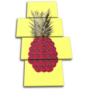 Pineapple-Flowers-Concept-Food-Kitchen-MULTI-CANVAS-WALL-ART-Picture-Print
