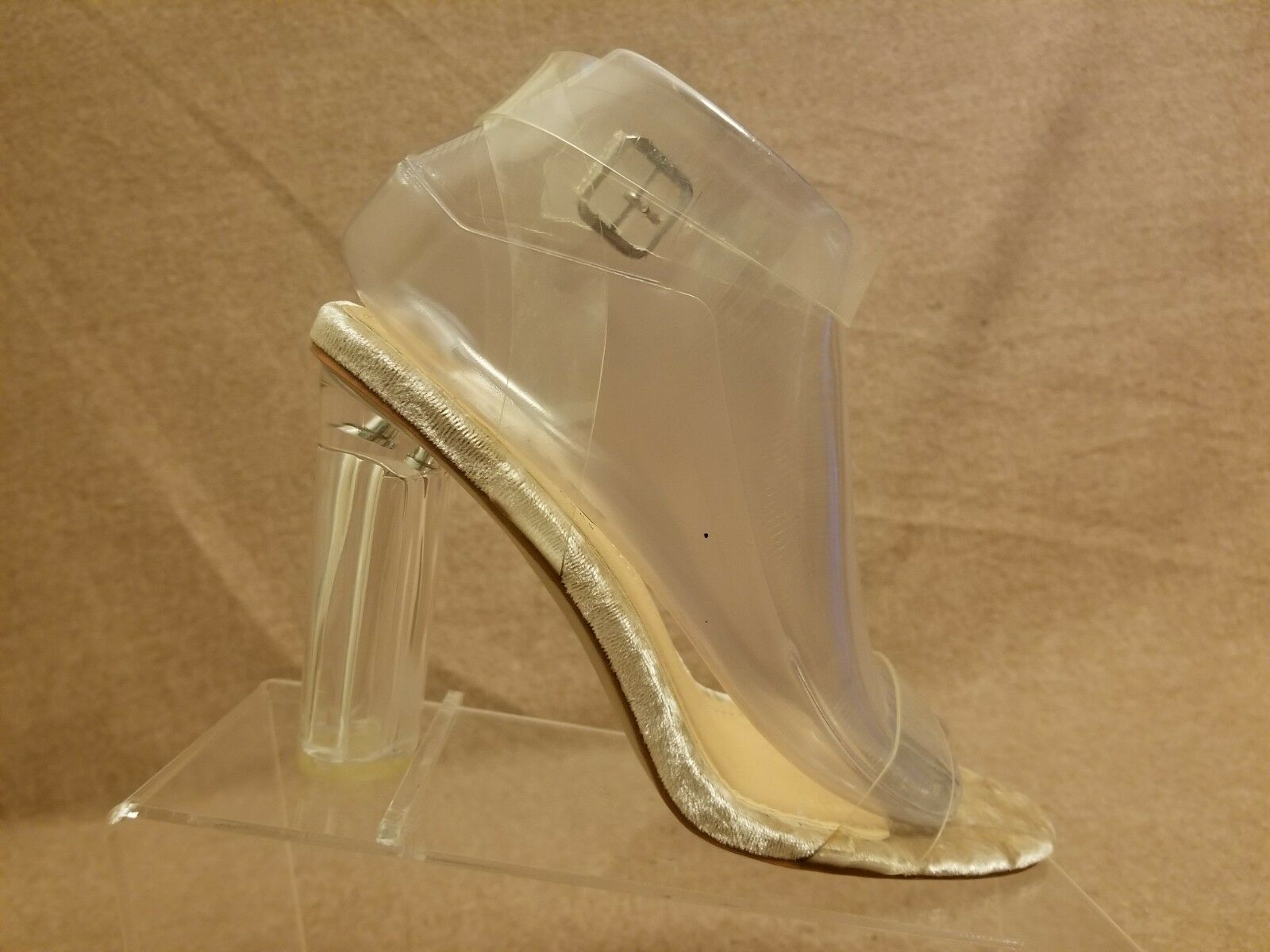 New Ego Women Transparent Perspex Lucite Clear Ankle Strap Heels Sandals Size 5