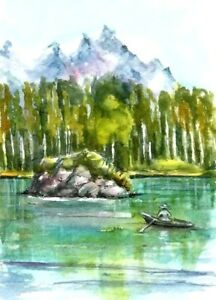 ACEO-Mountain-painting-original-Woodland-trees-watercolour-art-card