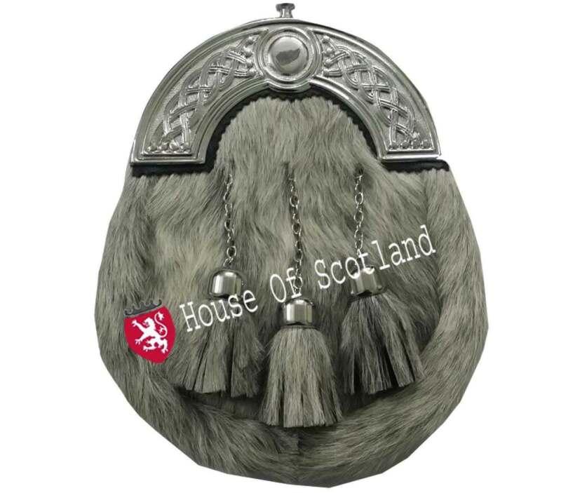 Angemessen Herren Voll Kleid Kilt Sporran Grau Bovine Leder Celtic Hinterzwiesel Wear Eine Lange Historische Stellung Haben