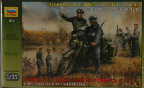 German WWII R-12 Heavy Motorcycle with Rider /& Officer Plastic Kit 1:35 Model