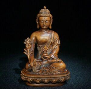 Collect Buddhism Natural Boxwood hand carved Medicine Buddha Statue Sakyamuni