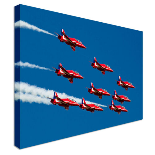 Quality Assured Red Arrows In The Sky Canvas Print Crafted In London