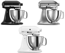 KitchenAid Stand Mixer tilt 5-QT RRK150 Artisan Tilt Black White Silver