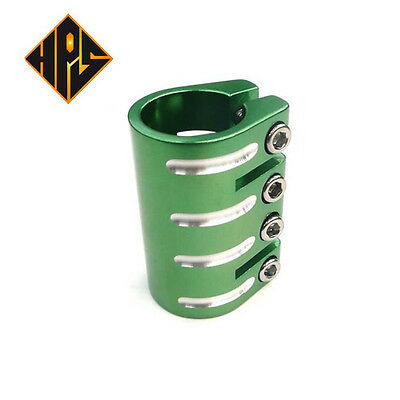 HPS PRO SCOOTER NEON GREEN 4 BOLT QUAD CLAMP FOR STANDARD SIZE BARS ONLY STUNT