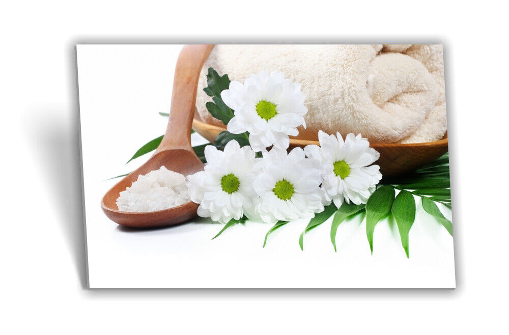 Leinwand-Bild Keilrahmen-Bild SPA-Wellness Bade-Salz Hand-Tuch Blaumen Schale
