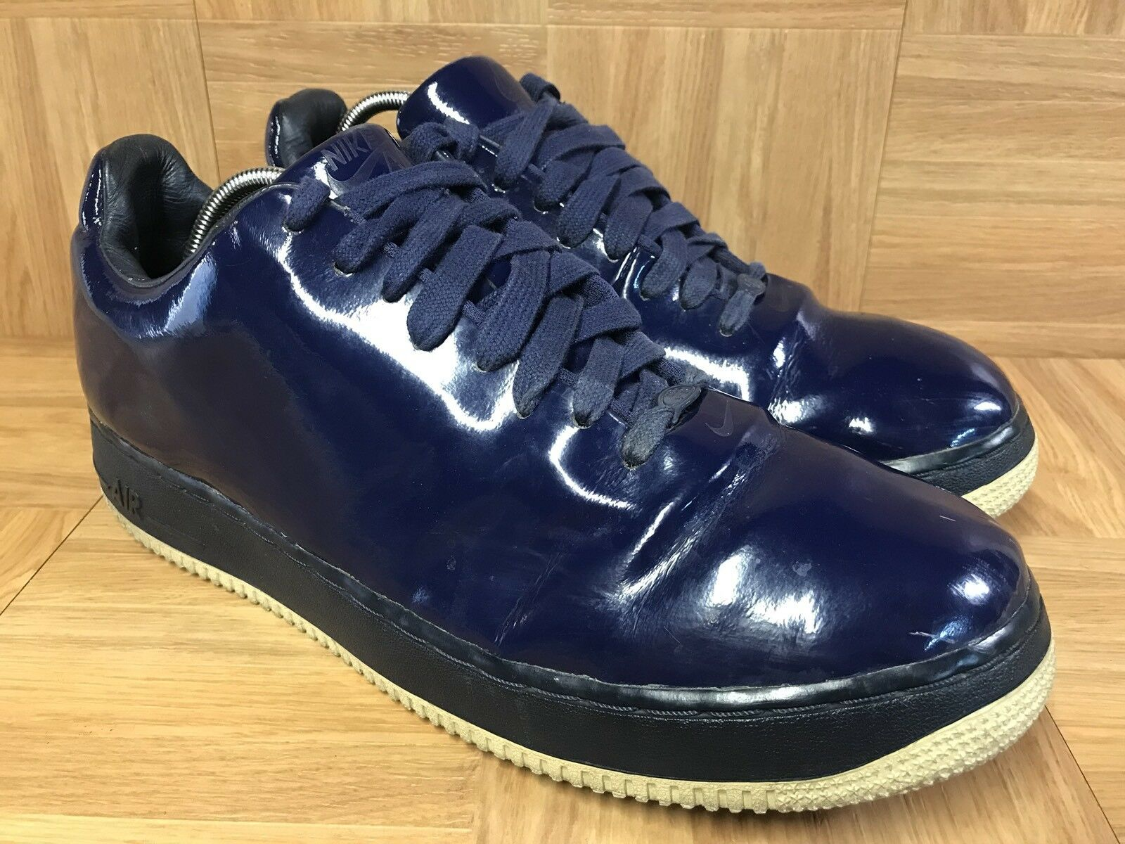 Worn Nike Air Force 1 Obsidian bluee Patent Leather Shiny S 12 313644-411 BBALL