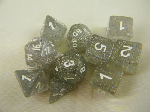 DUNGEONS /& DRAGONS Dice D/&D Clear Glitter Dice Set of 10 Role-playing Dice