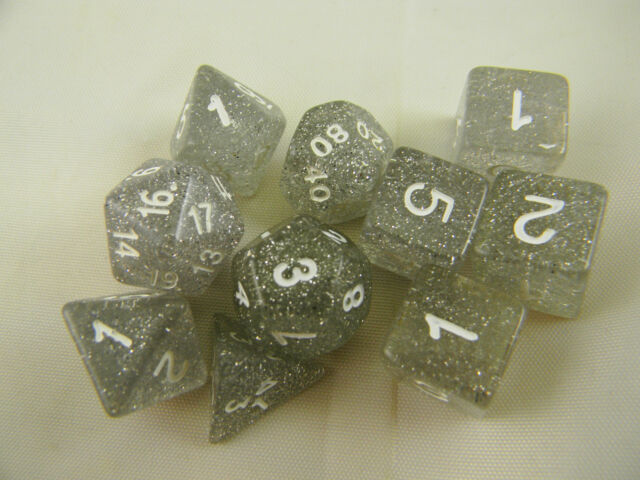 DUNGEONS & DRAGONS Dice D&D Clear Glitter Dice Set of 10 Role-playing Dice