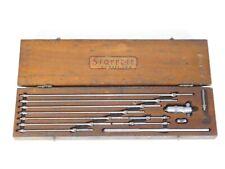 Vtg Ls Starrett 124b 2 12 Inside Micrometer Set Machinist Tool Wood Box Case