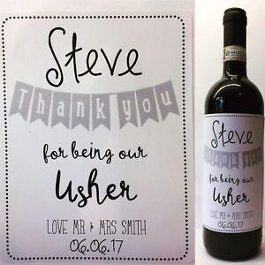 El Mejor Hombre Usher Regalo Personalizado De Boda etiqueta del vino
