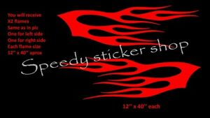 LARGE-flames-x2-vinyl-graphics-car-side-stickers-decals-tribal-fun-racing-A313