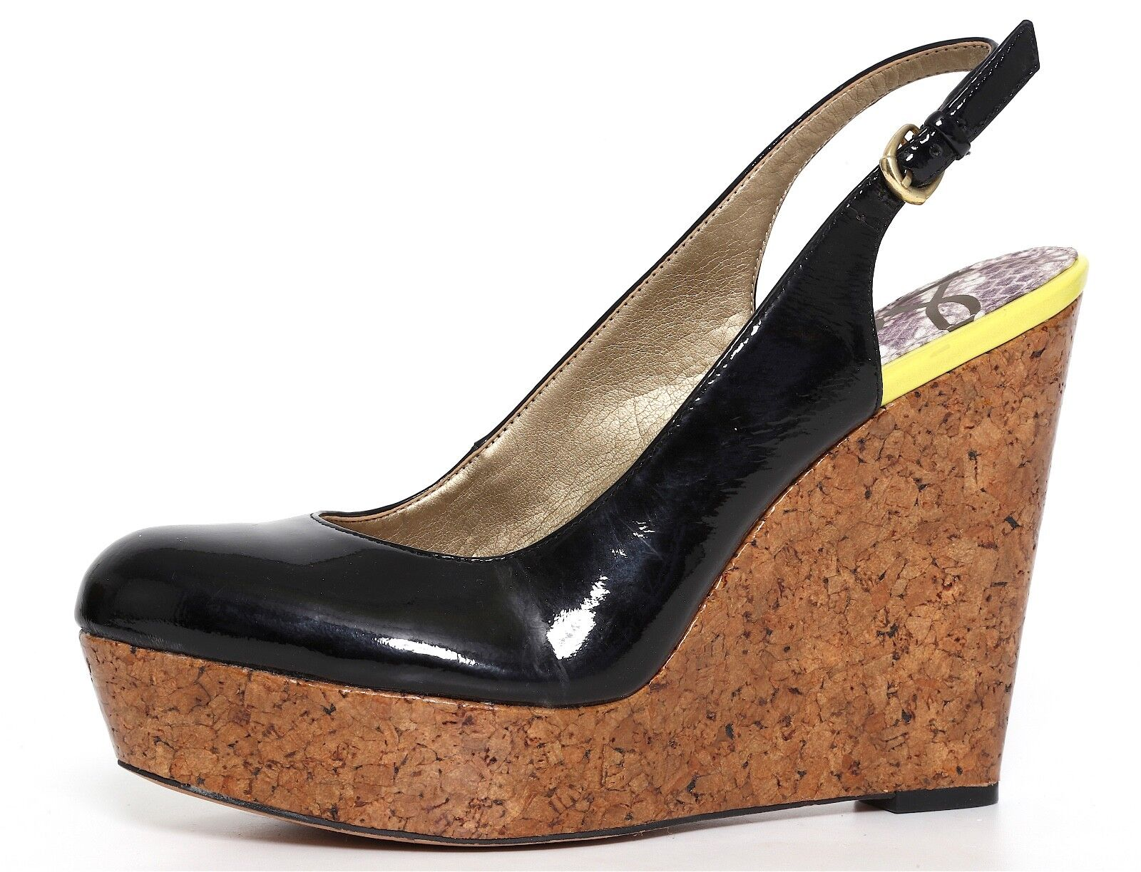 Sam Edelman Mallory Slingback Platform Cork Wedge Patent Pelle Donna Sz9 3180