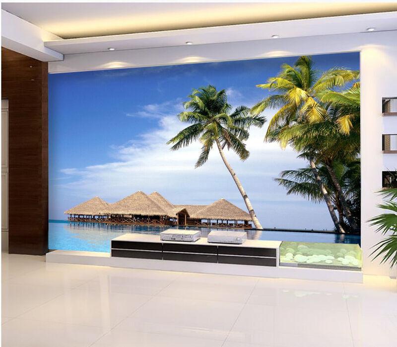 3D Maldives Beach Blau tree Wall Paper Print Decal Wall Deco Indoor wall Mural