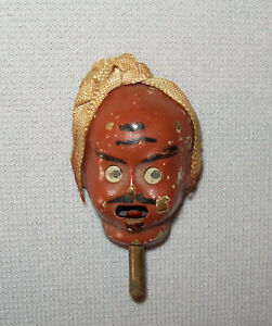 Old-Antique-Vtg-19th-C-1860s-Figural-Zouave-Head-Pin-Turban-Sticks-Out-Tongue