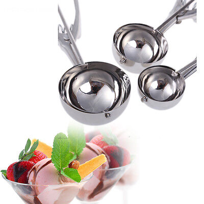 3pcs Stainless Steel Kitchen Ice Cream Scoop Cookie Disher Spoon Masher Handle