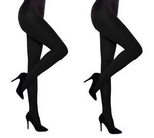 86feef567 Black 60 den Hosiery Opaque No Pattern Tights Women Two packs by ...