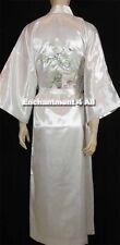 Embroidered Flying Crane Silk Satin Kimono Robe Sleepwear Long Waist Tie, White