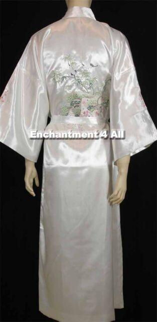 ef5da933a4 Embroidered Flying Crane Silk Satin Kimono Robe Sleepwear Long Waist ...