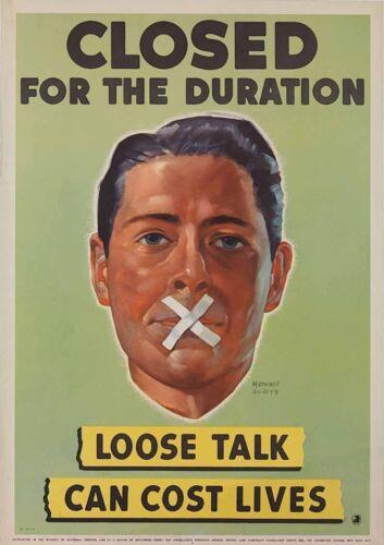 Vintage Art Print Poster A1 A2 A3 A4 A5 Loose Talk Can Cost Lives Closed War