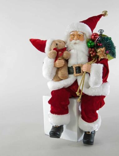 "Katherine's Collection 18"" Posable Santa Doll w Teddy Bear Christmas 18-841683"