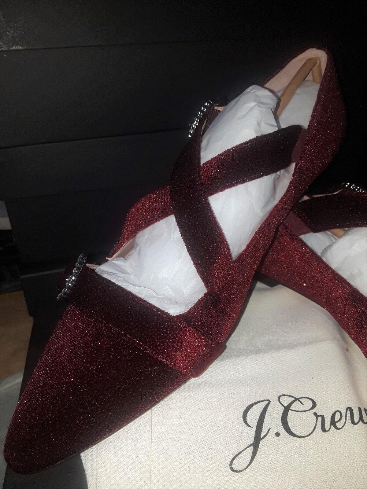 Jcrew Burgundy velvet velvet velvet pearl buckle pointed toe Womens size 12 NEW 3eaa74