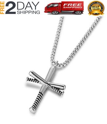Baseball Bat Cross Pendant Necklace Chain Crucifix Black Stainless Steel Men New