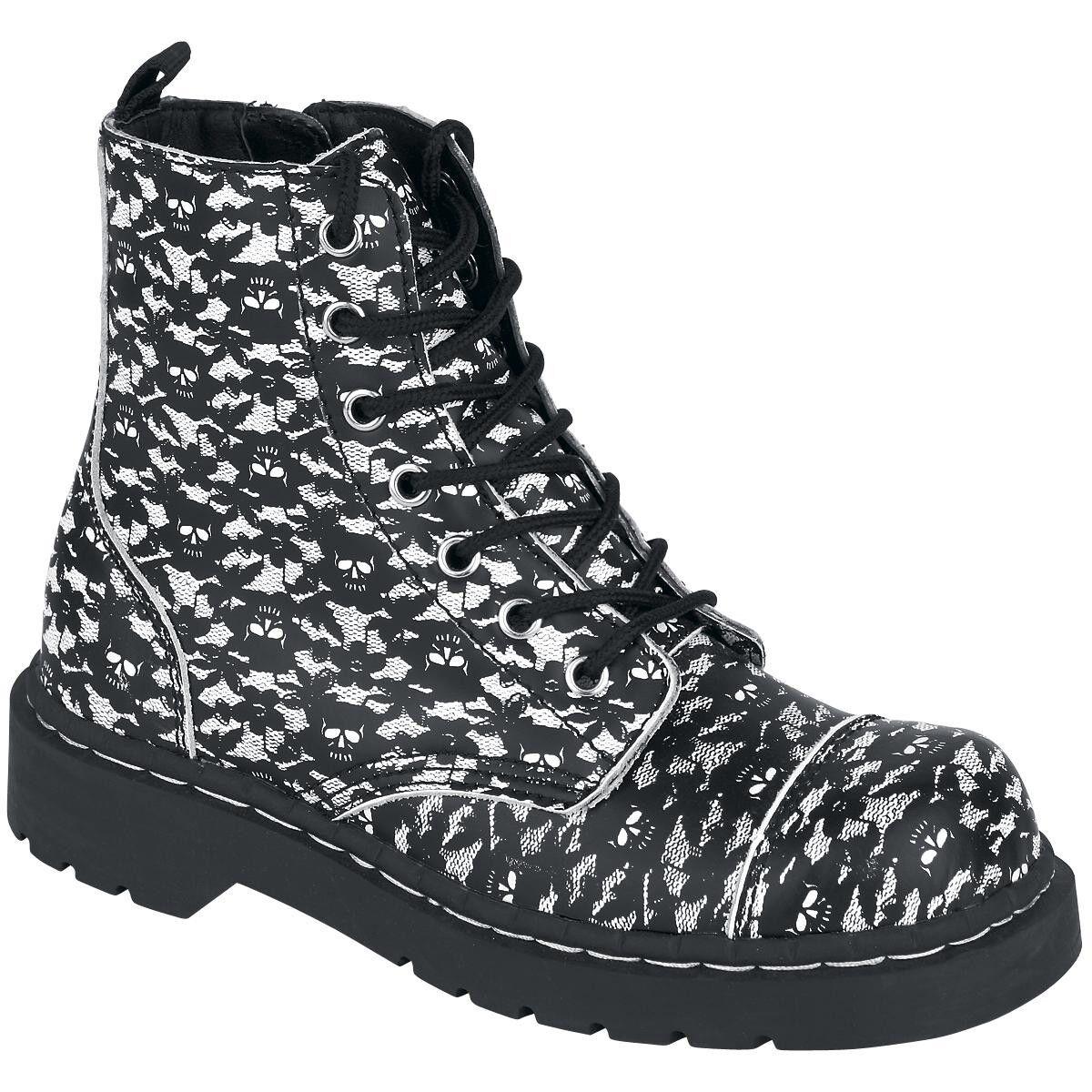 T.U.K. Zapatos Zapatos T.U.K. de Encaje Blanco Negro Cráneo 7 ojos anárquico Botas Mujer Talla; 5 y 6 EE. UU. 5f6c7a