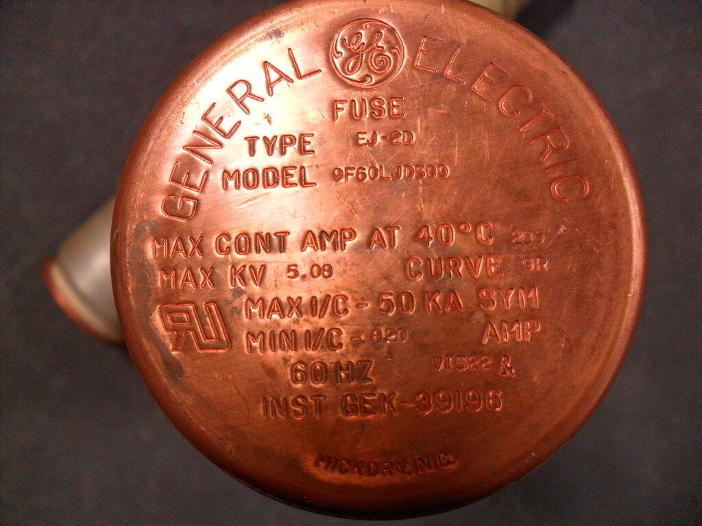 Usado Lote De 2 General Electric 9f60ljd509 único Barril Fusibles Fusibles Fusibles ej-2d 79793d