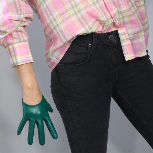 "TECH LONG GLOVES Faux Leather Sheepskin 28/"" 70cm Kelly Green Forest Touchscreen"