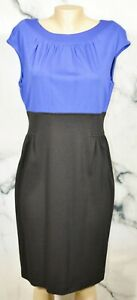 MAGGY LONDON Blue Black Dress 14 Cap Sleeves Unlined Stretch Rayon Blend