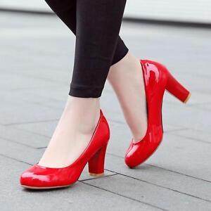 Womens-Pumps-Round-Toe-Dress-Court-patent-leather-Pumps-Block-High-Heel-Shoes-Sz