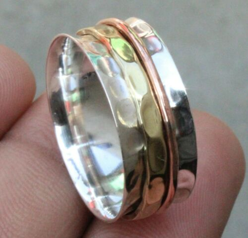 925 Sterling Silver Band /& Copper Spinner Ring Handmade Jewelry All Size b-9