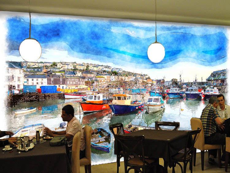 3D Harbour City 6 Photo Papier Peint en Autocollant Murale Plafond Chambre Art
