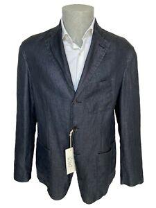 Giacca uomo Confitalia, tg 52 blu in Puro lino effetto jeans chambray,sconto 70%