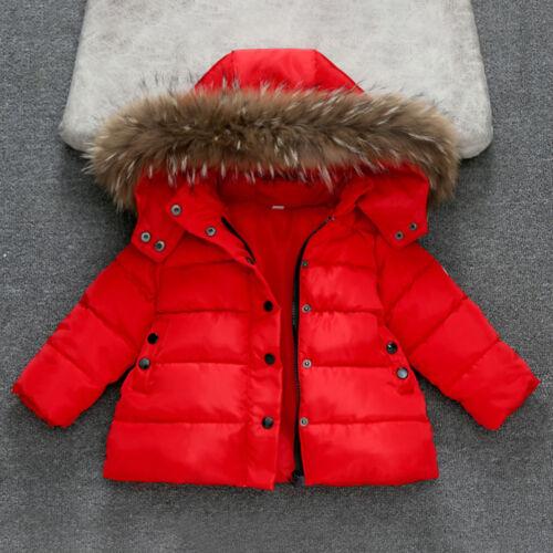 Toddler Kid Girl Boy Winter Warm Fur Hooded Coat Down Jacket Parka Outwear Nice