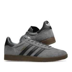adidas Mens Originals Gazelle Trainers Grey, Core Black & Gum ...