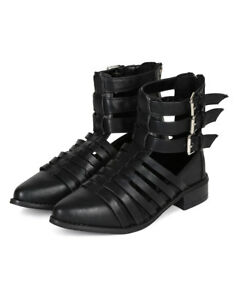 New Women Breckelles Sienna-01 Pointy Toe Strappy Buckle Gladiator Bootie