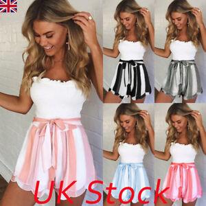 Womens-Ladies-Fashion-Summer-High-Waist-Floral-Casual-Beach-Hot-Pants-Shorts-UK