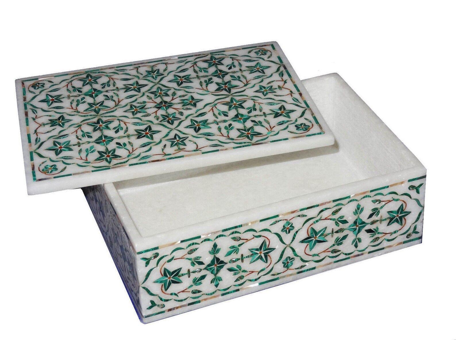 Marble Box Semi Precious Stones art Inlay handicraft Work home decor