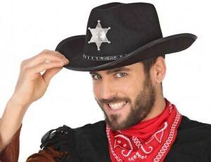 AgréAble Chapeau Feutrine Noir Sherif Déguisement Homme Cow Boy Bandit Shériff Neuf