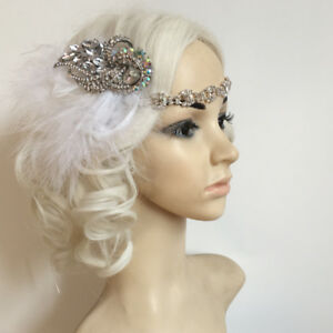Details About Women 1920s Diamante Headpiece Great Gatsby Flapper Feather Bridal Headband
