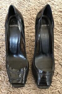 Size Toe 5 Black Plastic Patent Shoes Carvela amp; Peep Leather Ladies Heels vwxZ701