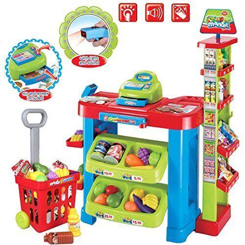 Deao supermarkt kinder marktstand spielzeugladen mit einkaufswagen und spielen essen