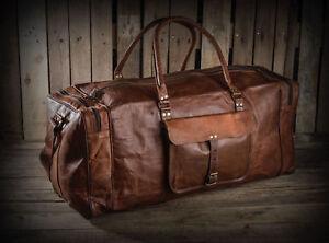 Large-Men-039-s-Vintage-Real-Leather-Luggage-Tote-Bag-Travel-Bag-Duffel-Gym-Bag-New