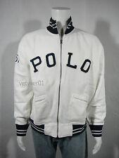 NWT Polo RALPH LAUREN Heritage 67 Fleece Track/Varsity Jacket Off-White size L