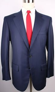 Loro-Piana-Blue-Striped-Super-130s-Wool-Side-Vented-3-Button-Suit-Size-42-R-36